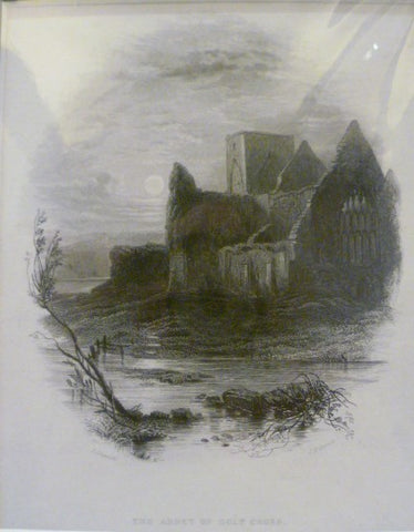 Antique Steel Engraving - The Abbey of Holy Cross, Tipperaray