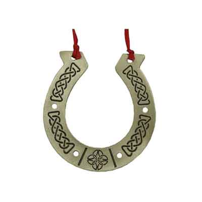 Pewter Lucky Horseshoe Hanging Ornament