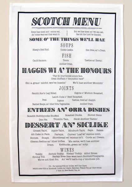 Tea Towel - Scotch Menu