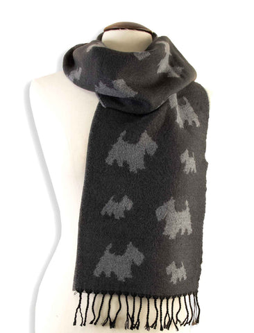 Scarf - Grey Scotties