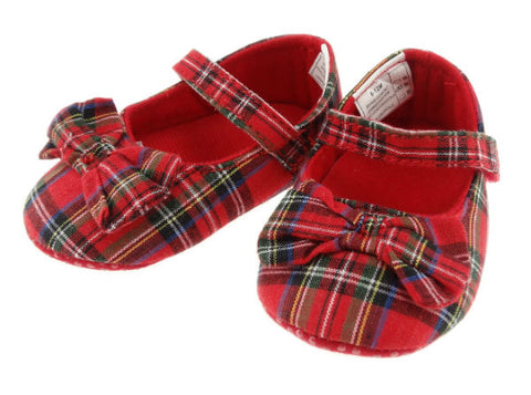 Baby Girl's Tartan Shoes With Bow