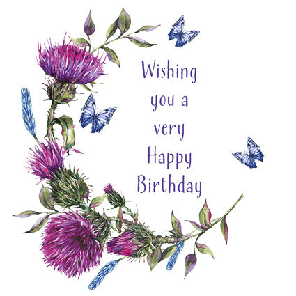 Birthday Card - Thistles & Butterflies