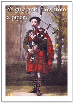 Guid Blow From A Piper - Humorous Card