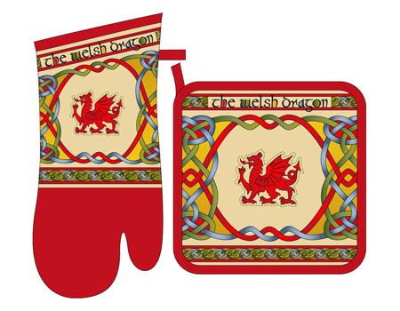 Welsh Oven Mitt & Pot Holder Set