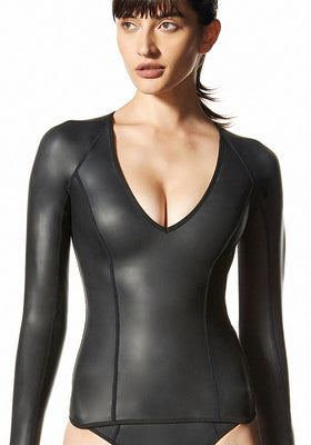 Coyote: The Neoprene Long Sleeve V Neck Top