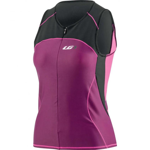 Women Comp Sleeveless Triathlon Top Black/Purple/Pink Front