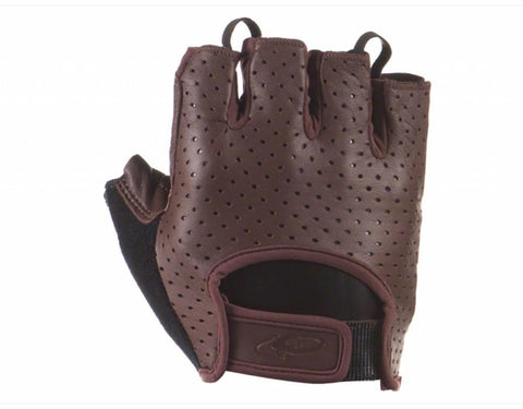 Aramus Short Finger Gloves Leather Brown Front
