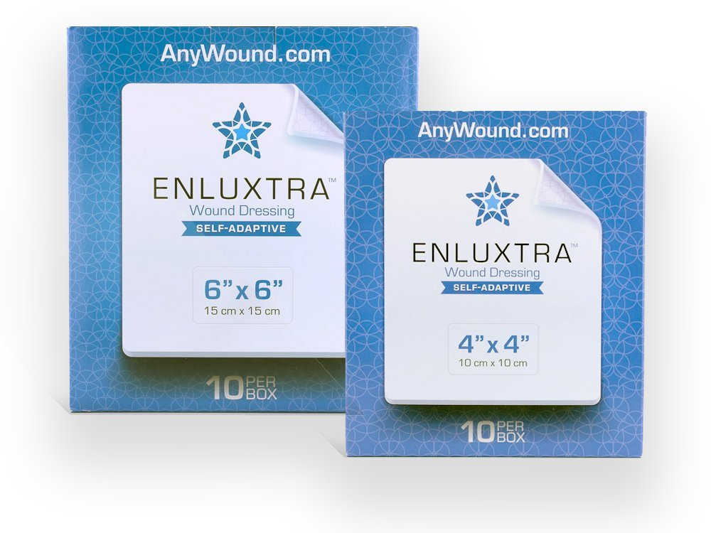"006 ""Any Wound"" Dressing - Box of 10 Enluxtra 6""x6"" Self-Adaptive Super Absorbent Dressings for Wounds with Any Exudate Level"