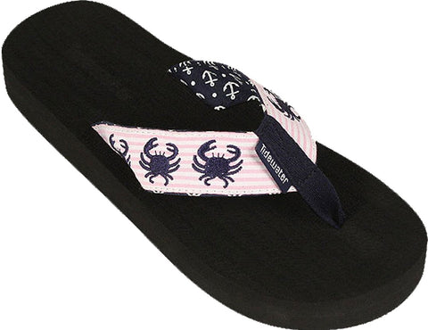 Women's Tidewater Boardwalk Flip Flop Sandals,7 B(M) US,Pink Crab Seersucker