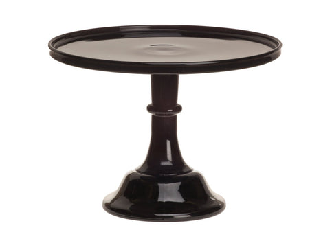 "Black Raspberry 12"" Glass Cake Stand - By Mosser Glass"
