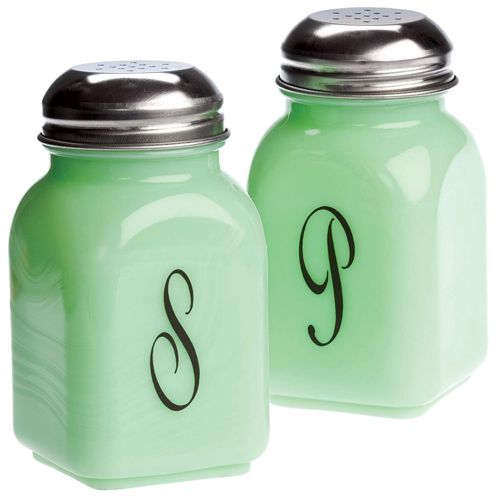 Square Jade Green Glass Salt & Pepper Shakers Script S & P