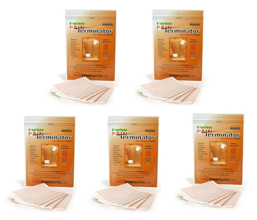 Golden Sunshine - Pain Terminator Far Infrared Patch - 5 Pack