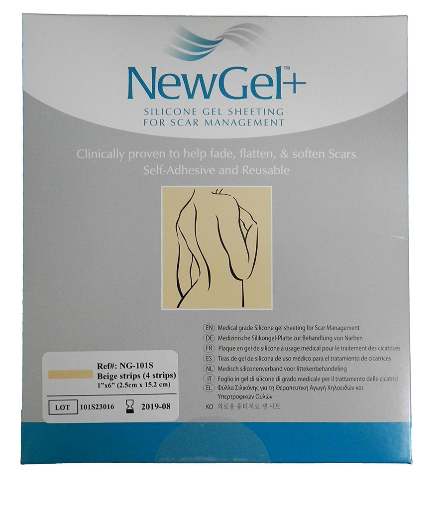 "NewGel+ Silicone Gel Strips for Scar Management - 1"" x 6"" Strips Beige (4 per box)"