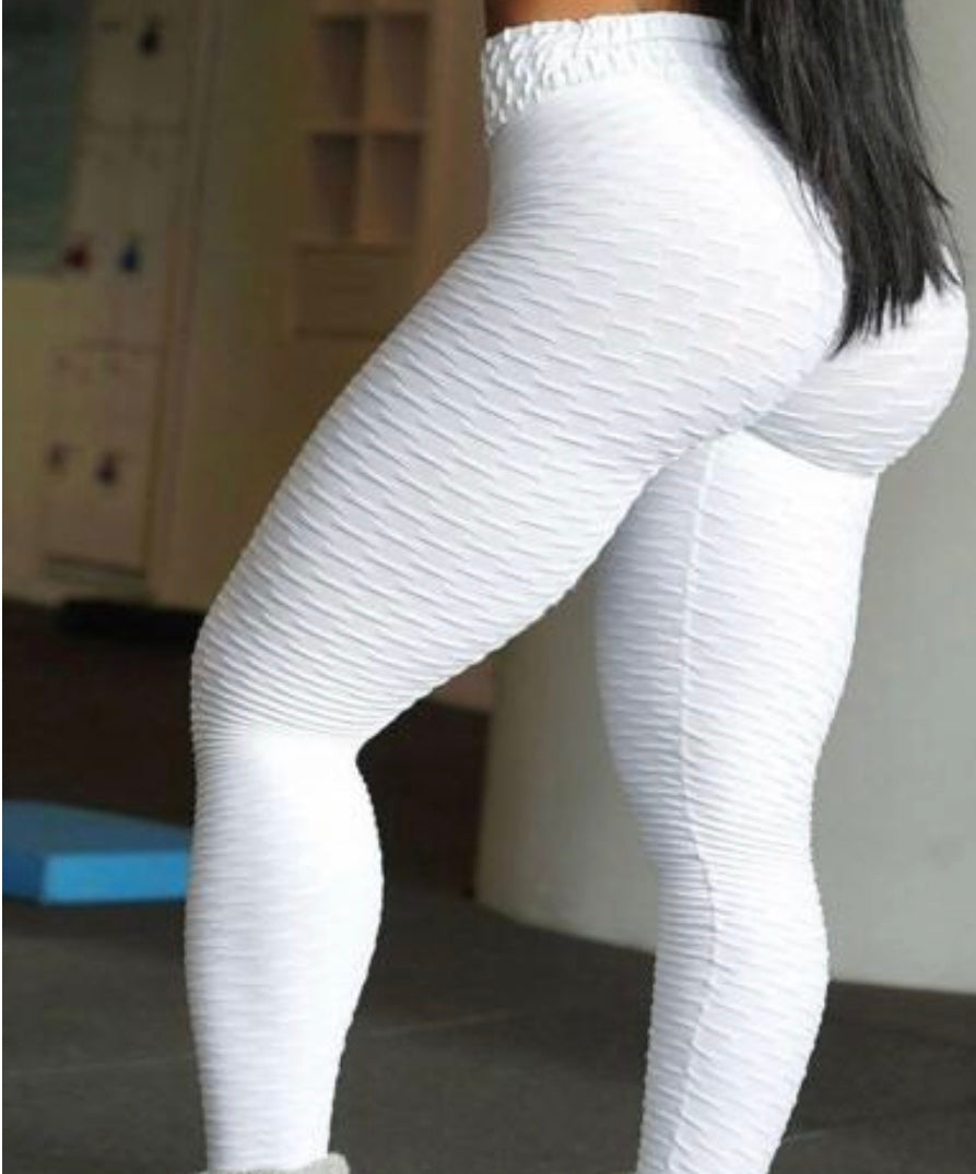 White Scrunch anti cellulite Yogs pants leggings