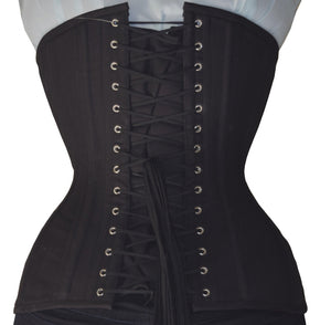 Women's Black Cotton Underbust plus size corset waist trainer