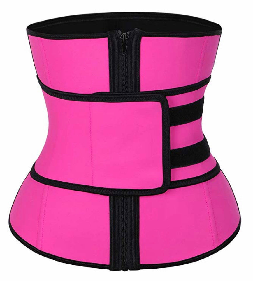 Pink Super Latex Hourglass Sweat Belt Waist Trainer