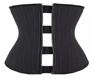 Black Dual closure zipper and three row hook latex waist trainer