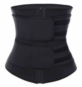 Black Double Strapped Latex/Neoprene Sweat Belt Waist Trainer