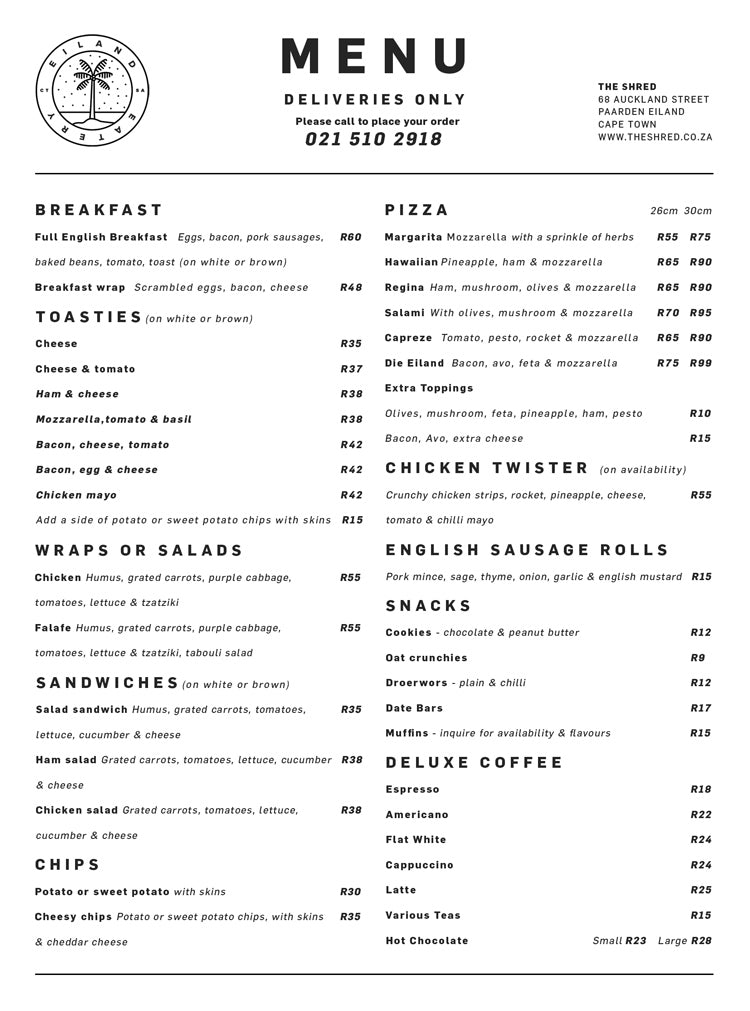 Eiland Eatery Delivery Menu