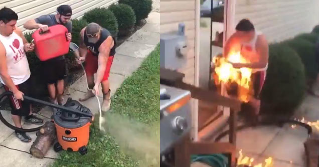 Redneck's Homemade Flamethrower Goes Horribly Wrong