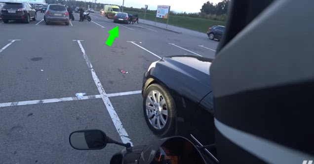 Bently Driving Douche Gets Instant Karma From A Biker