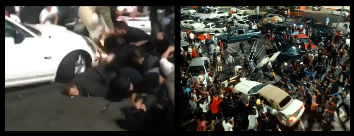 WARNING-GRAPHIC CONTENT!-MUSTANG DOING SKIDS PLOWS INTO A WATCHING CROWD INJURING 15 PEOPLE, ENRAGED HUMANS SWARM AND SMASH THE CAR WHILE THE DRIVER FREAKS OUT AND TRIES TO ESCAPE!