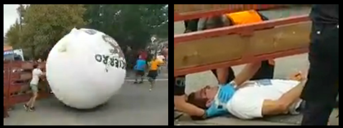 SPANISH VILLAGE'S ATTEMPT TO INVENT 'CRUELTY-FREE' BULL RUNNING BY REPLACING THE ANIMALS WITH A 300KG BALL LEAVES KID IN A COMA AFTER GETTING HIS MELON CRUSHED AGAINST METAL BARRIERS!