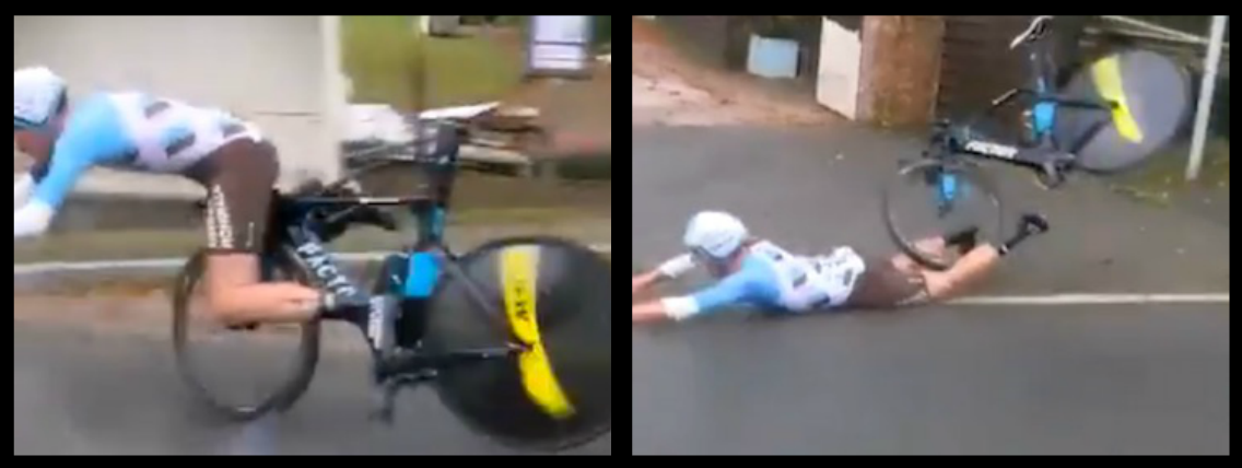 FRENCH CYCLIST MAXIME ROGER WAS CRUISING AT 60KPH WHEN HIS CARBON FIBRE HANDLEBARS DECIDED ENOUGH WAS ENOUGH. BLOWS OUT HIS FRONT TYRE AND SLIDES ON HIS PENIS FOR 20 YARDS!