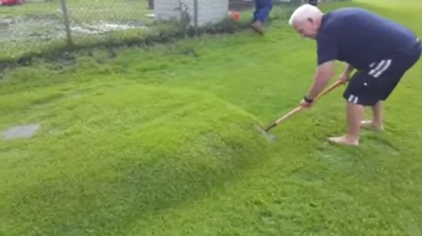 Man pops giant lawn bubble in his back garden!