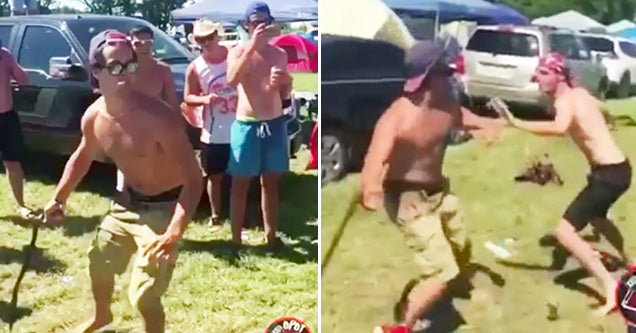 WTF?-Shirtless Bros Have Savage Belt Fight!