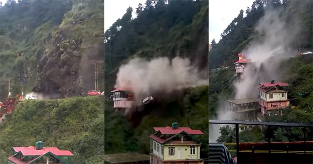 **Viewer Discretion Advised**-Massive Landslide in India Sweeps Cars Over Cliff