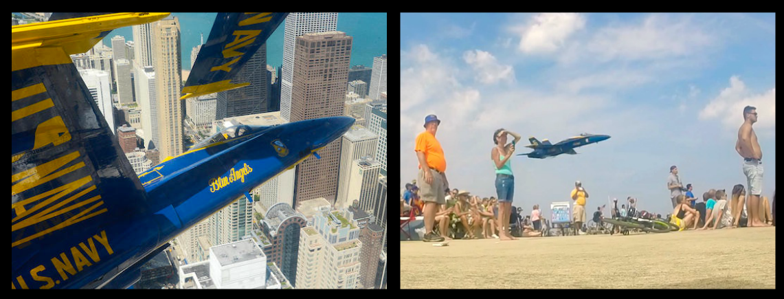 "Hilarious!-Guy films an Evil Blue Angel pilot swing by above a waiting group of spectators in Chicago. Watch the crowd ""Collectively S*HT themselves""!"