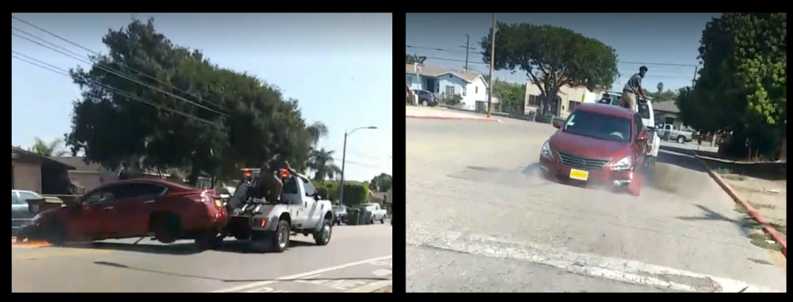 DRAMATIC VIDEO in Compton California... Repo man doesn't give a F**K, he's got a job to do, drags repossessed car through the streets while the owner tries to smash in the back window with a crow bar!