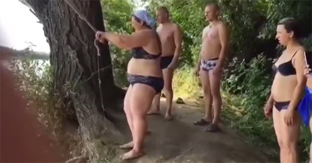 Russian Woman Has Epic Rope Swing Fail