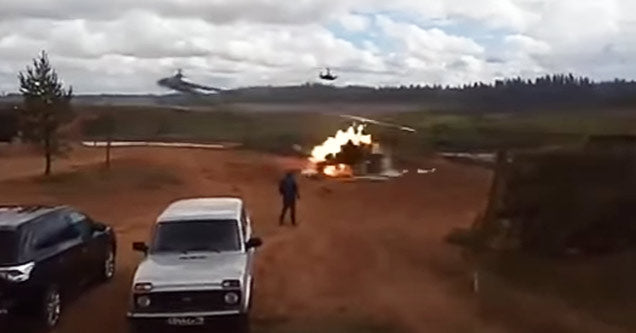 Russian Helicopter Accidentally Fires Rockets at Spectators