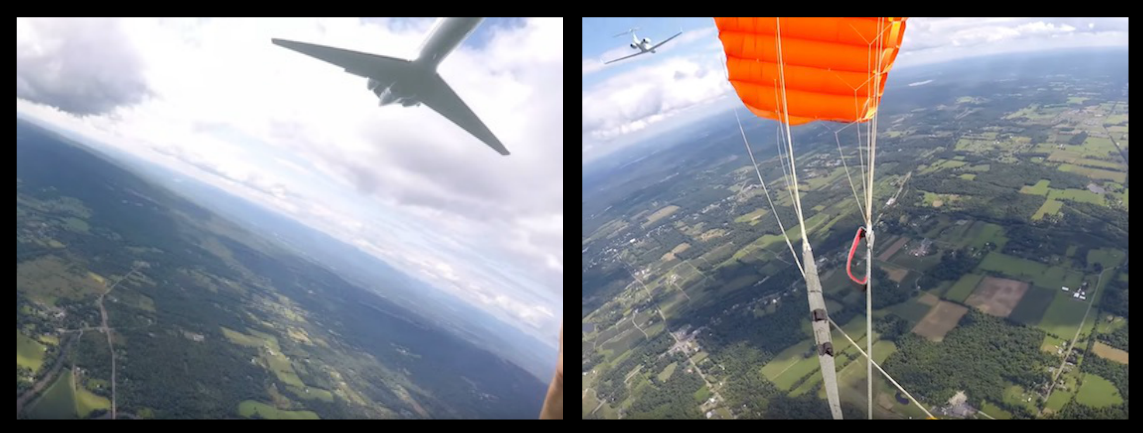 PRIVATE JET FLYING BELOW 10,000FT NEARLY HITS A SKYDIVER AND HIS PARACHUTE AT 250MPH, BUT WHERE WAS THE EAR SHATTERING NOISE AND WAKE TURBULENCE?