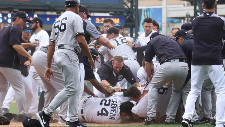 The Yankees And Tigers Got Into Massive Bench Clearing Brawl!