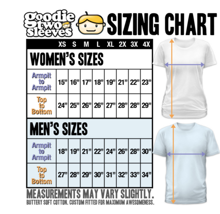 Goodie Two Sleeves Sizing Chart