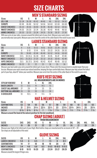 Hot Leathers Size Chart