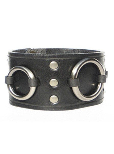 "1 3/4"" Ring Cuff Black by Lucky Dog Leather - InkedShop - 1"