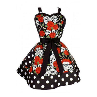 """Skull and Roses"" Two Tier Apron by Hemet (Black/Red) - InkedShop - 2"