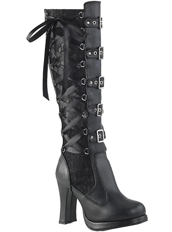 Women's Crypto 106 Platform Knee High Boots by Demonia