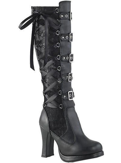 "Women's ""Crypto 106"" Platform Knee High Boots by Demonia (Black)"