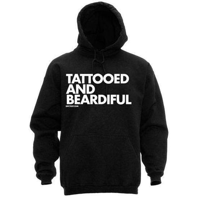 "Men's ""Tattooed and Beardiful"" Pullover Hoodie by Dpcted Apparel (Black) - InkedShop - 1"