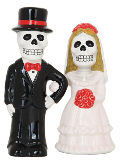 """Love Never Dies Wedding"" Salt & Pepper Shakers by Pacific Trading - www.inkedshop.com"