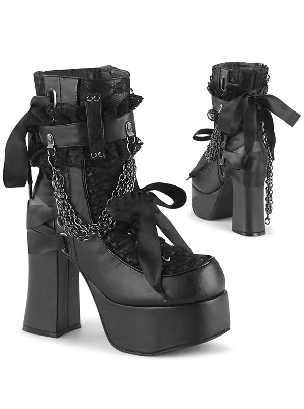 "Women's ""Charade 110"" Platform Ankle Boots by Demonia (Black)"