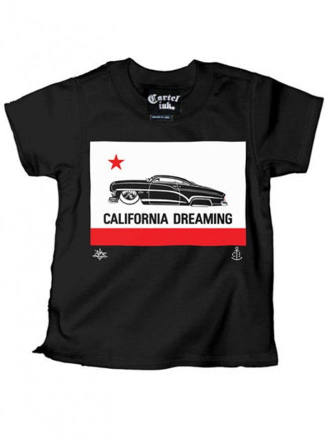 "Kid's ""California Dreaming"" Tee by Cartel Ink (Black) - www.inkedshop.com"