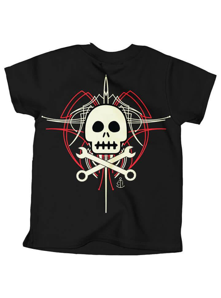 "Kid's ""Skully Pinstripe"" Tee by Cartel Ink (Black) - www.inkedshop.com"