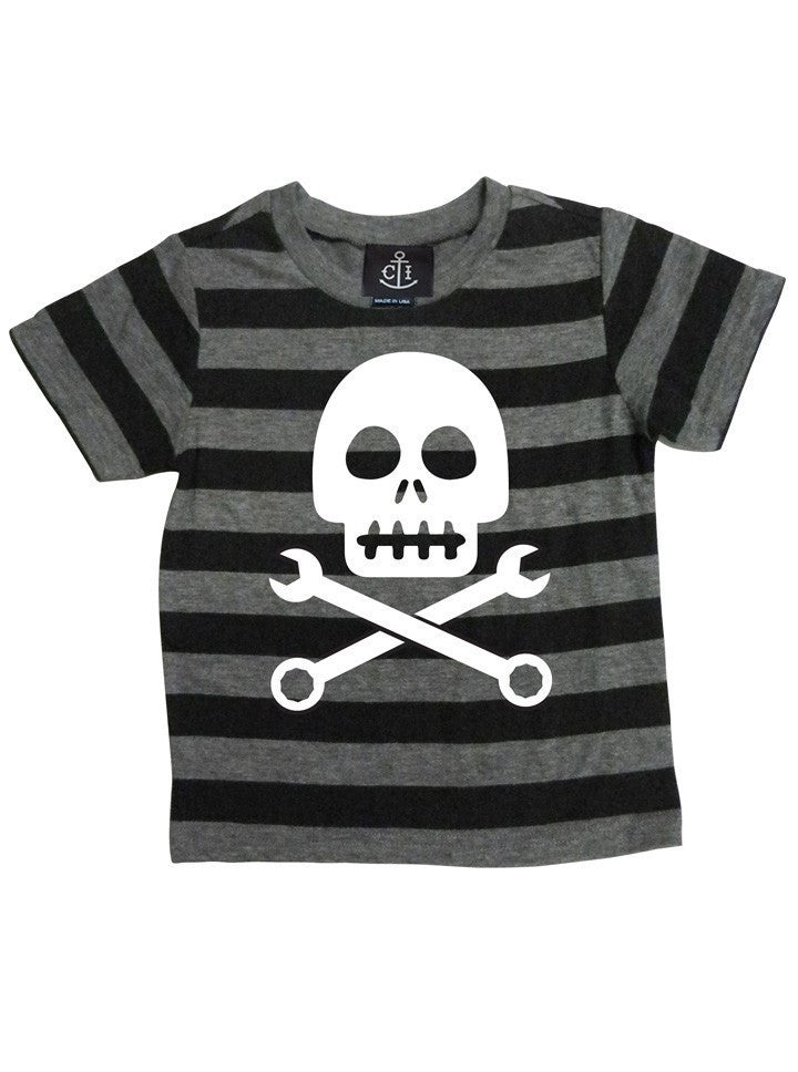 "Kid's ""Skull Crosswrench"" Tee by Cartel Ink (Black/Grey) - www.inkedshop.com"