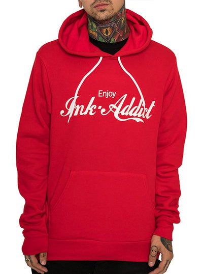 "Unisex ""Enjoy InkAddict""Hoodie by InkAddict (Red)"